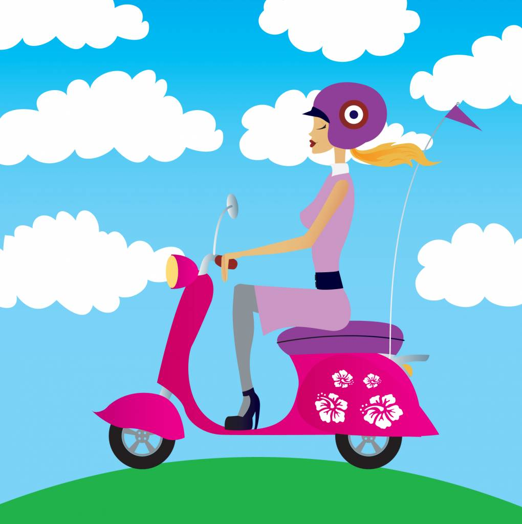 illustration of woman riding a vespa scooter