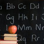 chalkboard, apple, books, alphabet: education
