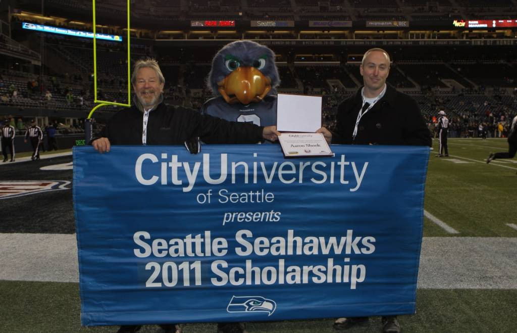 Provost Olswang Presents Scholarship to Aaron Shook