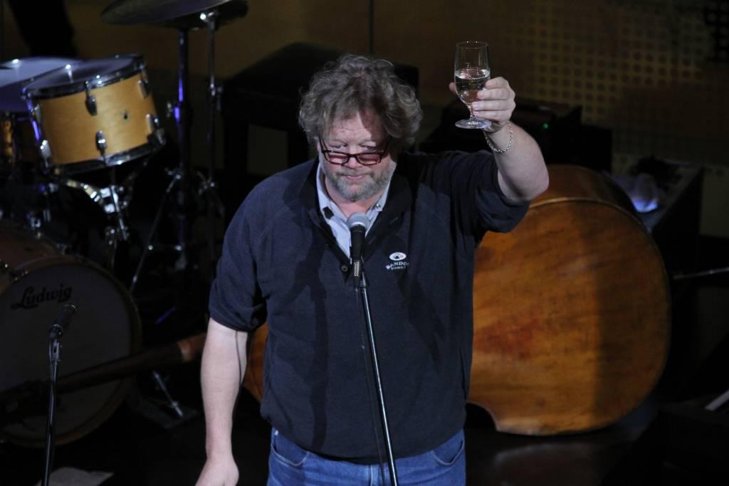 Award-winning restaurateur Tom Douglas raising a glass at CityU's campus opening