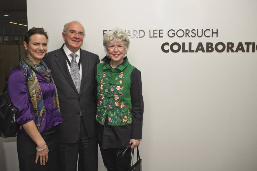President Lee Gorsuch with his wife and daughter at the award and naming ceremony