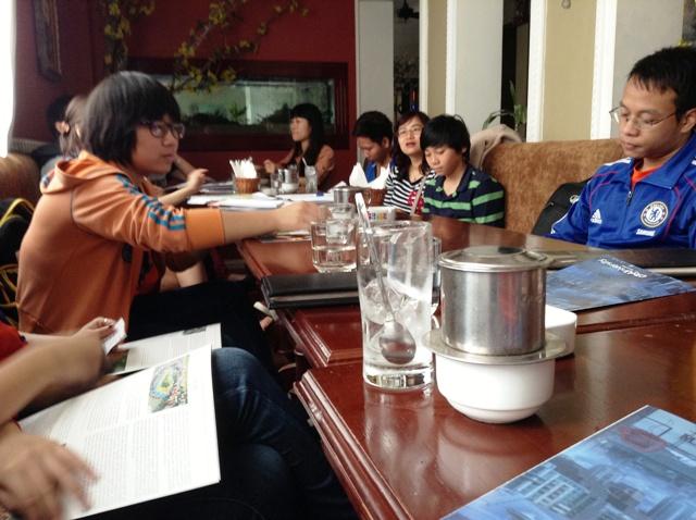 Group drinking tea