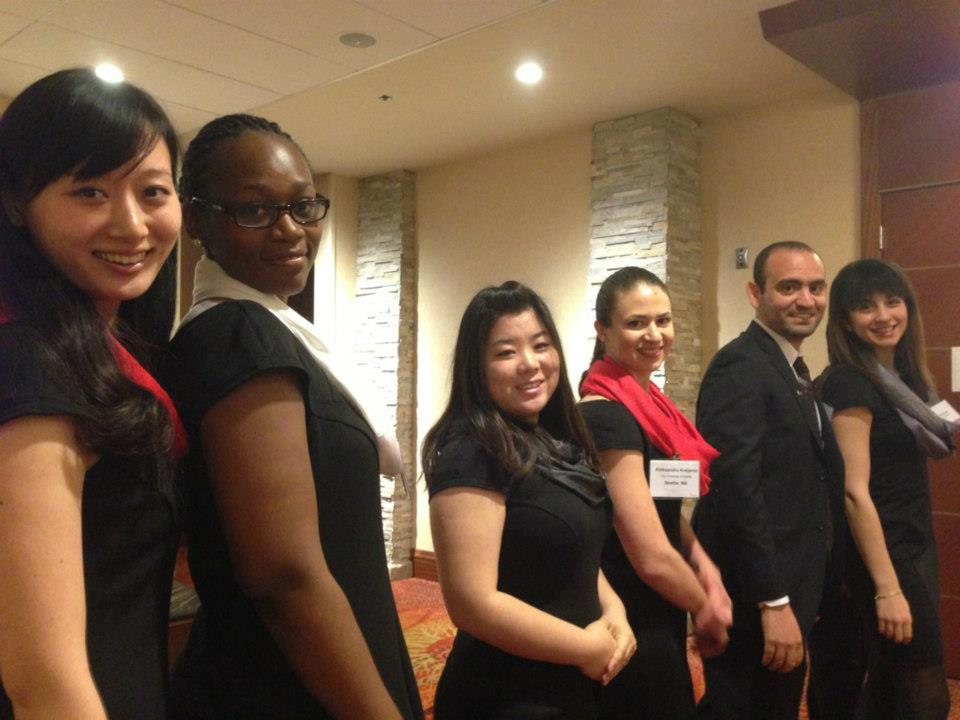 Enactus team getting ready to walk in and present at the regional competition
