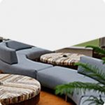 Blue serpentine sectional sofa