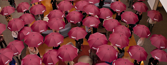 large crowd all with red umbrellas