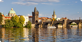 czech republic prague - charles bridge and spires of the old town