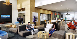 interior of residence hall common area
