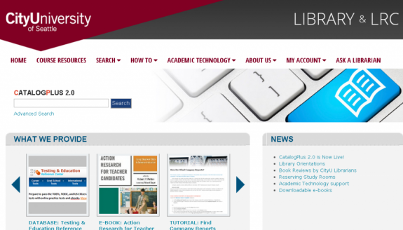 Library website home screen