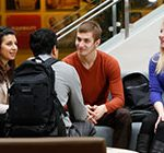 group of transfer students talking