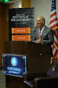 Chancellor Cunningham addresses nonprofit organizations at the Sanford Institute of Philanthropy
