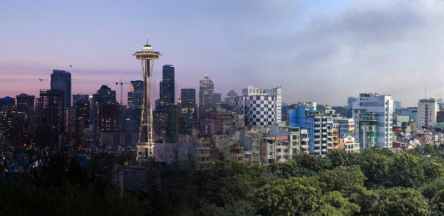 Skylines of Seattle and Hanoi