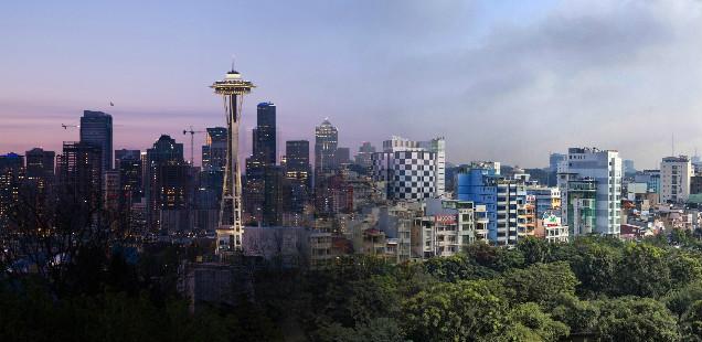 Skylines of Seattle and Hanoi