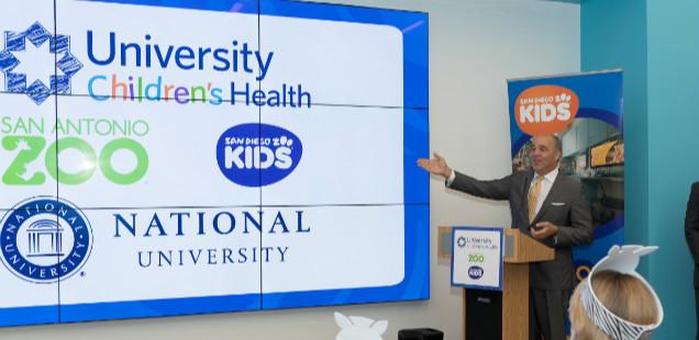 Chancellor Cunningham announces sponsorship of San Diego Zoo Kids channel at University Children's Health in San Antonio, TX.