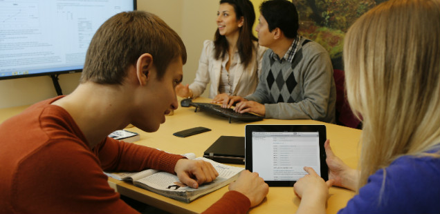 Students in a technology study room