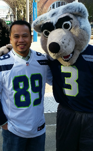 Victor Flores in Seahawks jersey