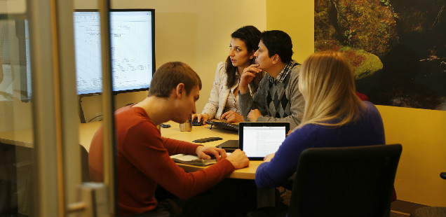 Students in a study room