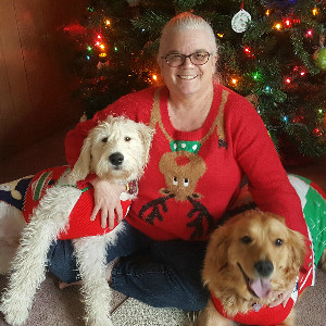 Pennie Crawford with her dogs