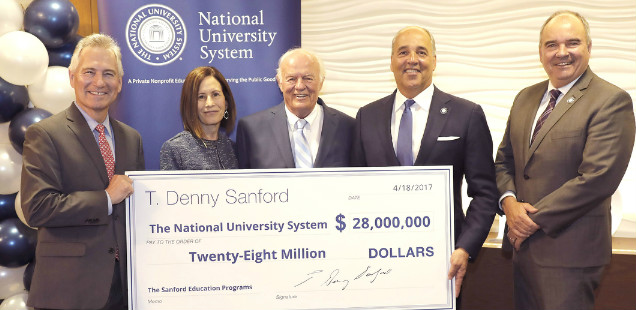 T. Denny Sanford presents donation to NUS leaders