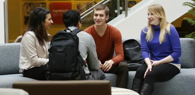 Students in the atrium