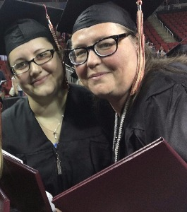 Kristine Keilwitz and her daughter Rebekah at commencement.