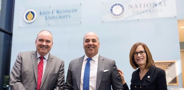Presidents of National University and JFK University with NUS Chancellor