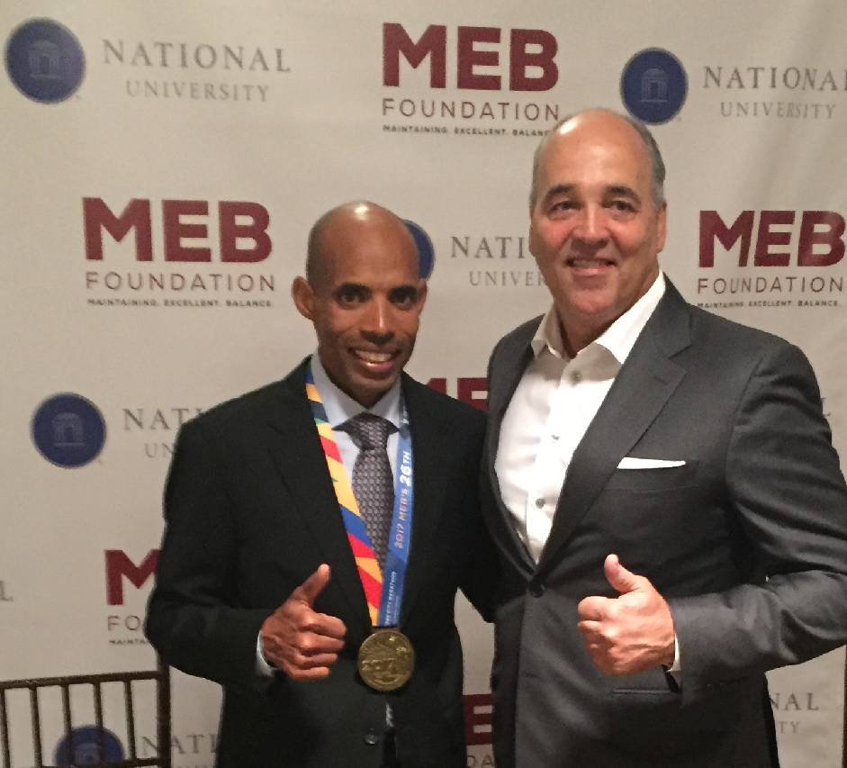 Chancellor Cunningham with Meb Keflezighi