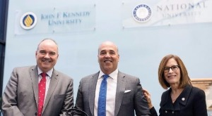 NU President Dr. David Andrews with Chancellor Cunningham and JFKU President Debra Bean