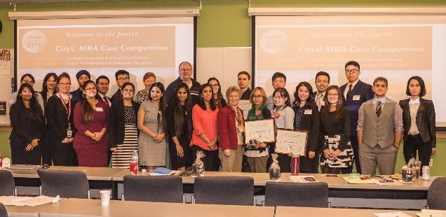 MBA Case Competition participants and judges