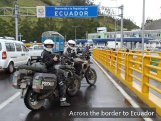 Christina Tkacs crosses the border into Ecuador.