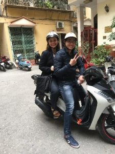 Christine taking a quick tour of Hanoi on motorbike after classes. March 2015