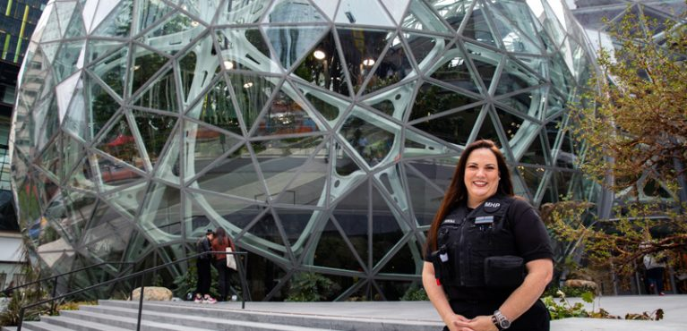 Susie Kroll in front of Amazon Spheres