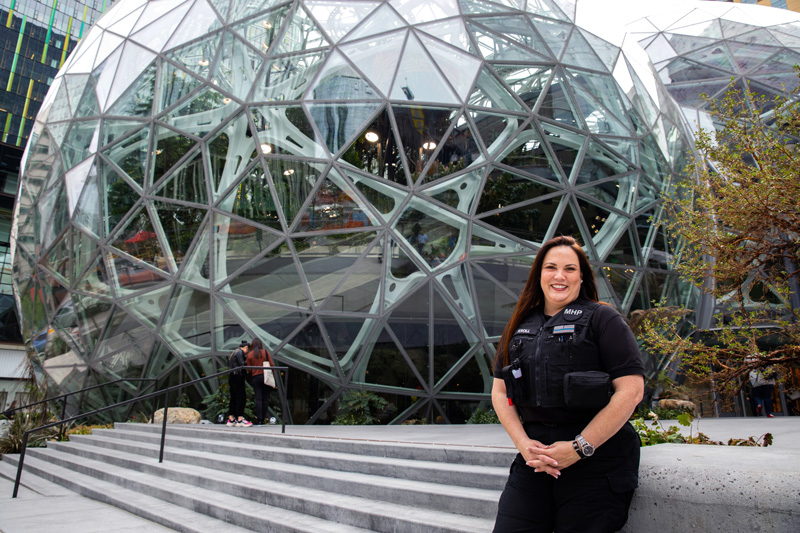 Susie Kroll in front of Amazon Spheres
